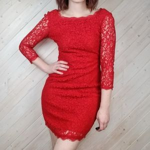 Caché | Gorgeous Lace Full Zipper Back Dress